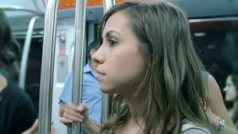 Nice pensive Girl in metro wagon Footage