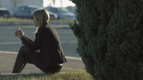 depressed young blonde woman with problems: thoughts, pensive, sad, sadness Live Action