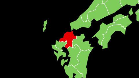福岡県の位置が赤く表示されます。背景はアルファチャンネルです。 CG動画