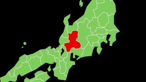 岐阜県の位置が赤く表示されます。背景はアルファチャンネルです。 CG動画