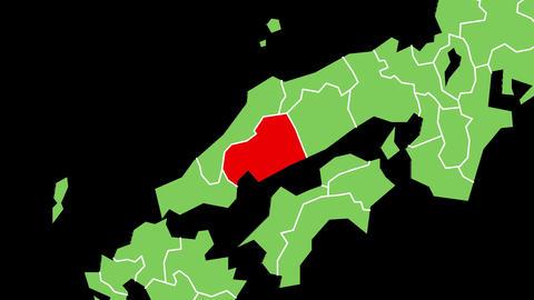 広島県の位置が赤く表示されます。背景はアルファチャンネルです。 CG動画