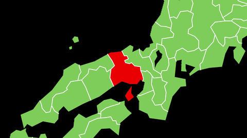 兵庫県の位置が赤く表示されます。背景はアルファチャンネルです。 CG動画