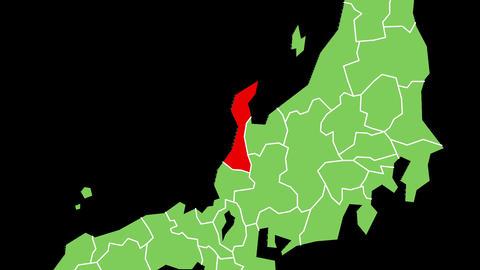 石川県の位置が赤く表示されます。背景はアルファチャンネルです。 CG動画
