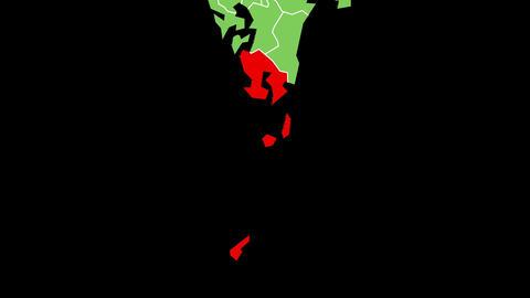 鹿児島県の位置が赤く表示されます。背景はアルファチャンネルです。 CG動画