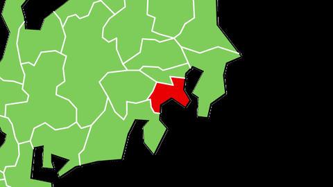 神奈川県の位置が赤く表示されます。背景はアルファチャンネルです。 CG動画
