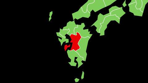 熊本県の位置が赤く表示されます。背景はアルファチャンネルです。 CG動画