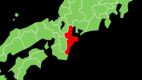 三重県の位置が赤く表示されます。背景はアルファチャンネルです。 CG動画