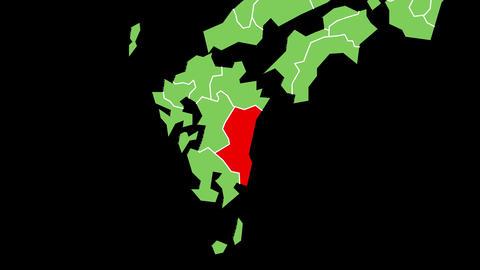 宮崎県の位置が赤く表示されます。背景はアルファチャンネルです。 CG動画