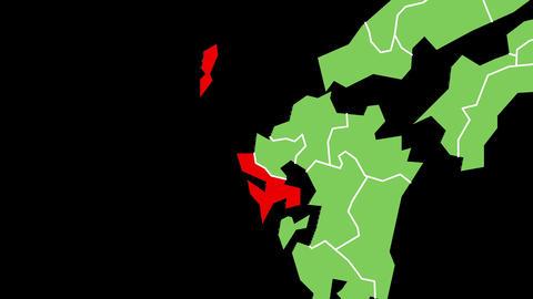 長崎県の位置が赤く表示されます。背景はアルファチャンネルです。 CG動画