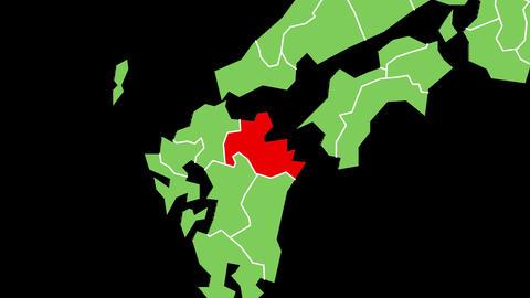 大分県の位置が赤く表示されます。背景はアルファチャンネルです。 CG動画