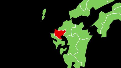 佐賀県の位置が赤く表示されます。背景はアルファチャンネルです。 CG動画