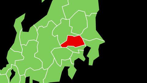 埼玉県の位置が赤く表示されます。背景はアルファチャンネルです。 CG動画