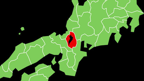 滋賀県の位置が赤く表示されます。背景はアルファチャンネルです。 CG動画
