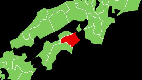 徳島県の位置が赤く表示されます。背景はアルファチャンネルです。 CG動画