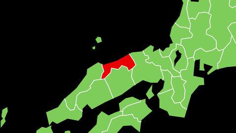 鳥取県の位置が赤く表示されます。背景はアルファチャンネルです。 CG動画