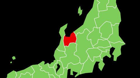 富山県の位置が赤く表示されます。背景はアルファチャンネルです。 CG動画