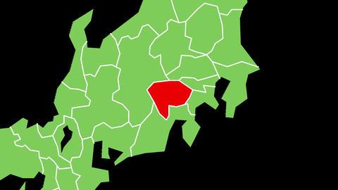 山梨県の位置が赤く表示されます。背景はアルファチャンネルです。 CG動画