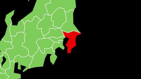 千葉県の位置が赤く表示されます。背景はアルファチャンネルです。 CG動画