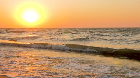 Sunrise on the beach. Beautiful nature, seascape, skyscape background. Meditative scene. Romantic, Live Action