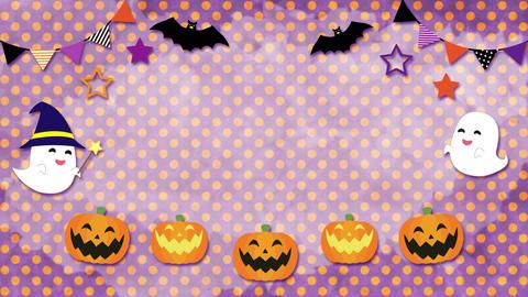 ハロウィン 水彩水玉背景 紫 ループ CG動画