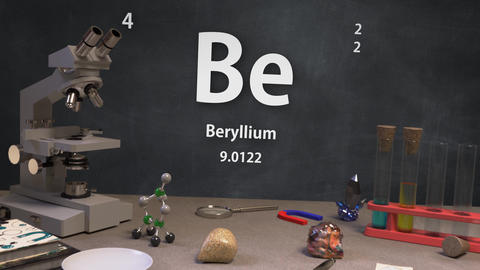 Infographic of 4 Element Be Beryllium of the Periodic Table Animation