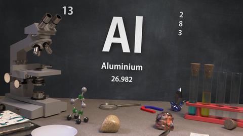 Infographic of 13 Element Al Aluminium of the Periodic Table Animation