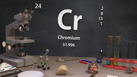 Infographic of 24 Element Cr Chromium of the Periodic Table Animation