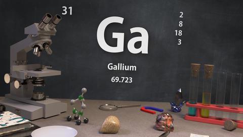 Infographic of 31 Element Ga Gallium of the Periodic Table Animation