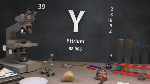 Infographic of 39 Element Y Yttrium of the Periodic Table Animation