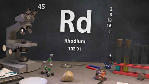 Infographic of 45 Element Rd Rhodium of the Periodic Table Animation