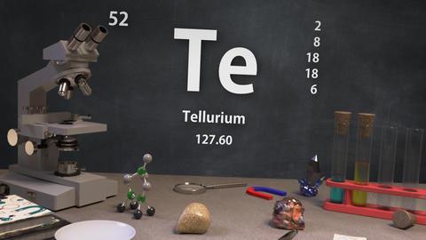 Infographic of 52 Element Te Tellurium of the Periodic Table Animation