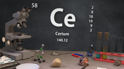 Infographic of 58 Element Ce Cerium of the Periodic Table Animation