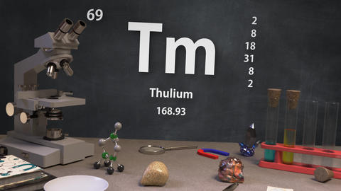 Infographic of 69 Element Tm Thulium of the Periodic Table Animation