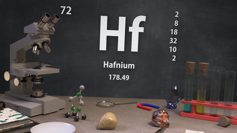 Infographic of 72 Element Hf Hafnium of the Periodic Table Animation