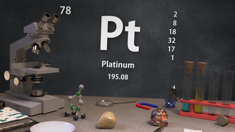 Infographic of 78 Element Pt Platinum of the Periodic Table Animation
