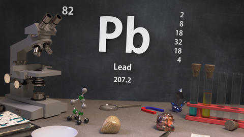 Infographic of 82 Element Pb Lead of the Periodic Table Animation