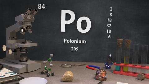 Infographic of 84 Element Po Polonium of the Periodic Table Animation