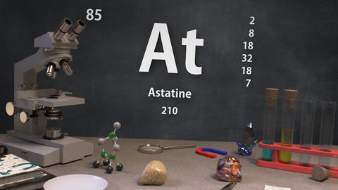 Infographic of 85 Element At Astatine of the Periodic Table Animation