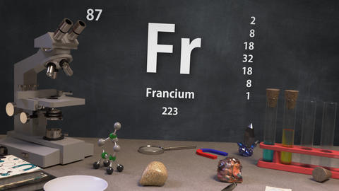 Infographic of 87 Element Fr Francium of the Periodic Table Animation