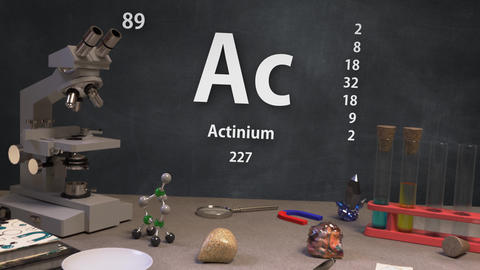 Infographic of 89 Element Ac Actinium of the Periodic Table Animation