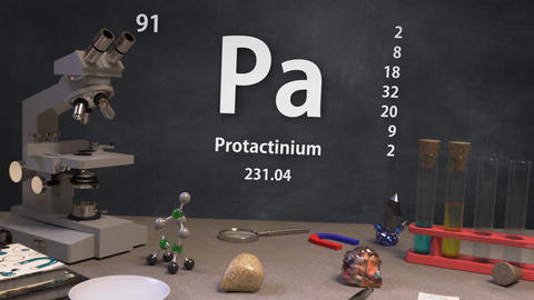 Infographic of 91 Element Pa Protactinium of the Periodic Table Animation