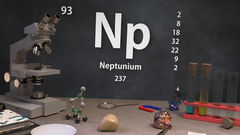 Infographic of 93 Element Np Neptunium of the Periodic Table Animation