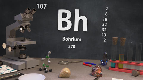 Infographic of 107 Element Bh Bohrium of the Periodic Table Animation