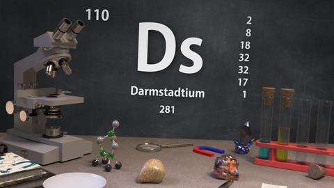 Infographic of 110 Element Ds Darmstadtium of the Periodic Table Animation