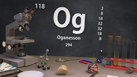 Infographic of 118 Element Og Oganesson of the Periodic Table Animation