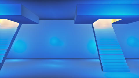 Broadcast Passing Hi-Tech Stairs Alley, Blue, Transport, 3D, 4K CG動画