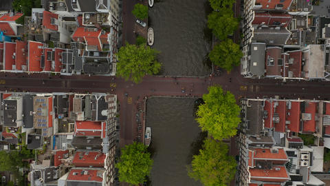Famous Amsterdam Canal Bridge from a Birds View Aerial Perspective Live Action