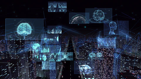 Digital City Network Building Technology Communication Data Business night Rot2 B M-Fa Animation