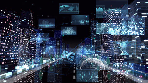 Digital City Network Building Technology Communication Data Business night Rot A M-Aa Animation