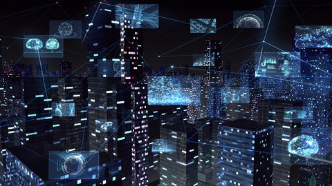 Digital City Network Building Technology Communication Data Business night Side B M-Ga Animation